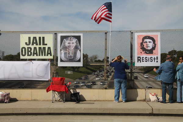 Photos of Presidents-Day, Impeach-Obama Overpass Protest in Carlsbad