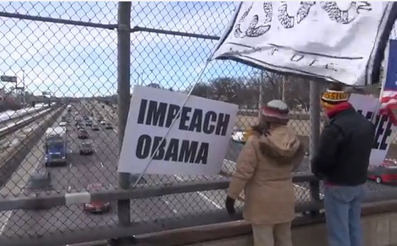 Impeach Obama Overpass Protest (Video) - Oak Park, Il, 02-22-2104