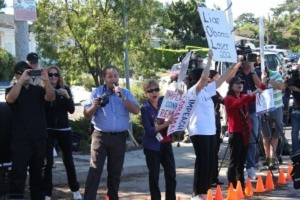 Earlier Protest at Irwin Jacobs Home in 2012.