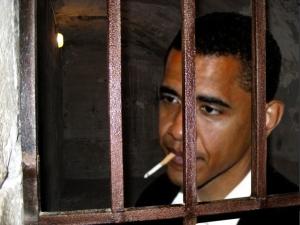 Obama behind bars in jail
