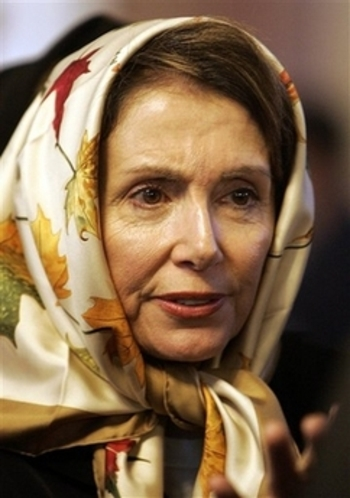 Nancy Pelosi, wears a Muslim Hijab inside Ommadad Mosque in Syria.